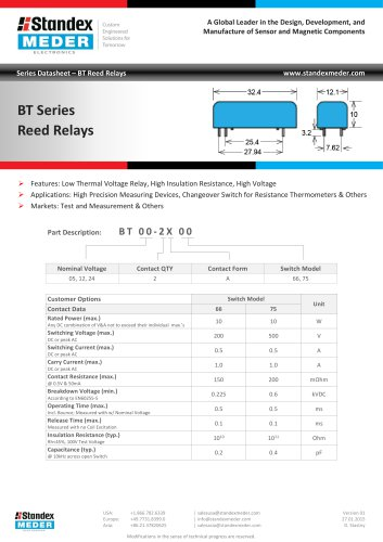 BT SERIES REED RELAY