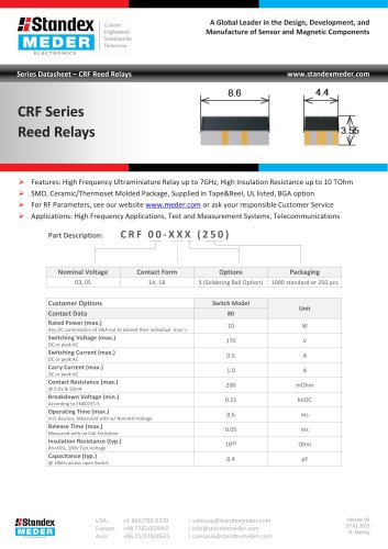CRF SERIES REED RELAY