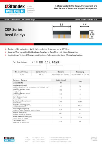 CRR SERIES REED RELAY