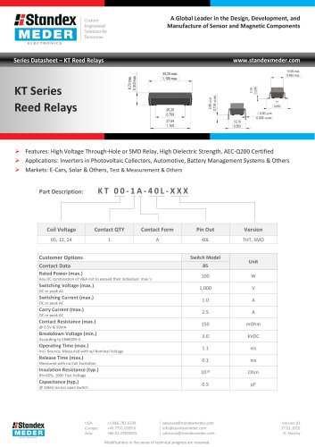 KT SERIES REED RELAY
