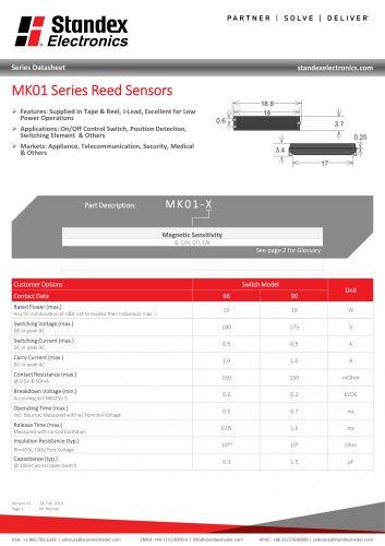 MK01 SERIES REED SENSOR