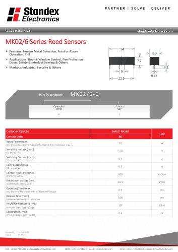MK02-6 SERIES REED SENSOR