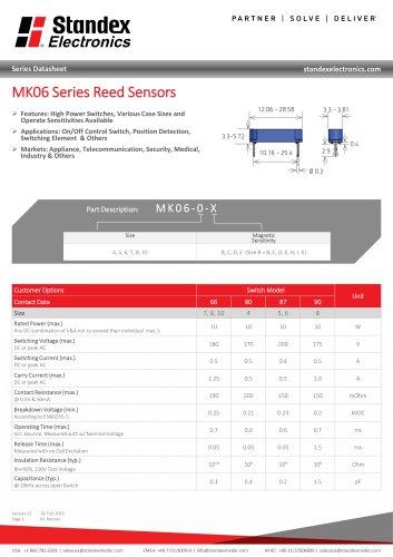 MK06 SERIES REED SENSOR