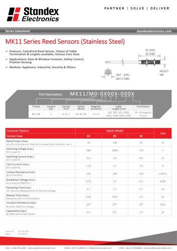 MK11 STAINLESS STEEL SERIES REED SENSOR