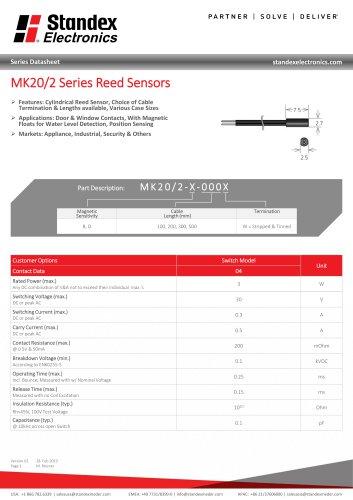 MK20/2 SERIES REED SENSOR