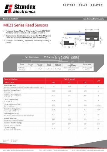 MK21 SERIES REED SENSOR
