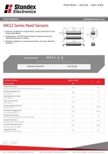 MK22 SERIES REED SENSOR