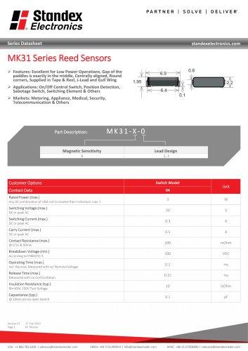 MK31 SERIES REED SENSOR