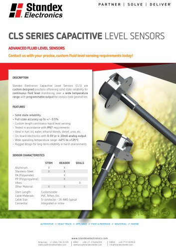 Product Solutions – CLS Series Capacitive Level Sensors