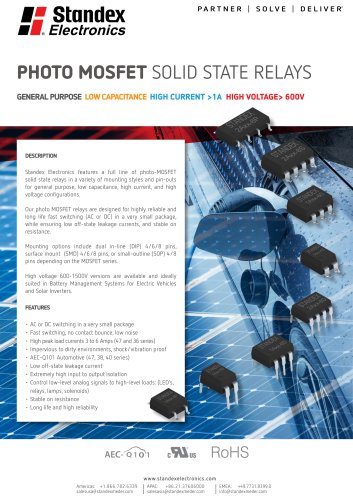 Product Solutions – Photo MOSFET Solid State Relays