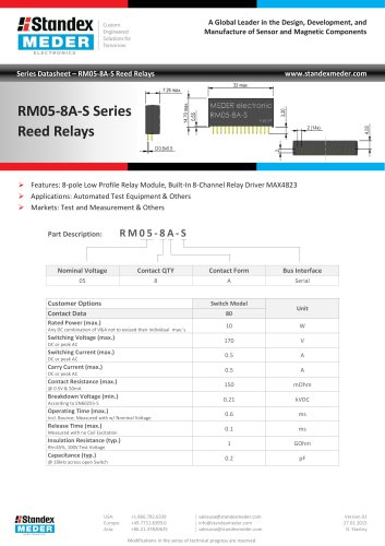 RM05-8A-S SERIES REED RELAY