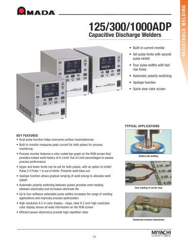 Advanced Capacitive Discharge Welders - 125ADP, 300ADP, 1000ADP