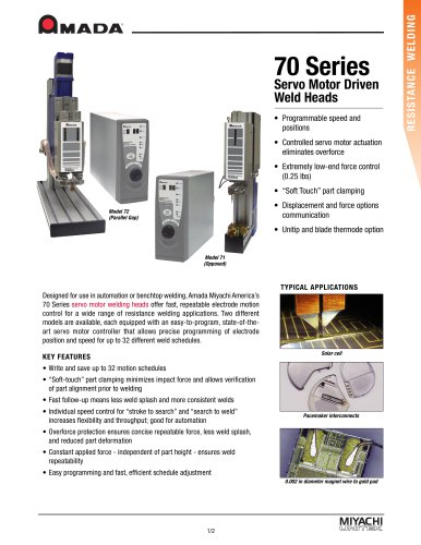 Servo-Motor Driven Weld Heads - 70 Series
