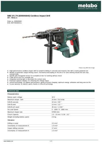 SBE 18 LTX (600845840) CORDLESS IMPACT DRILL