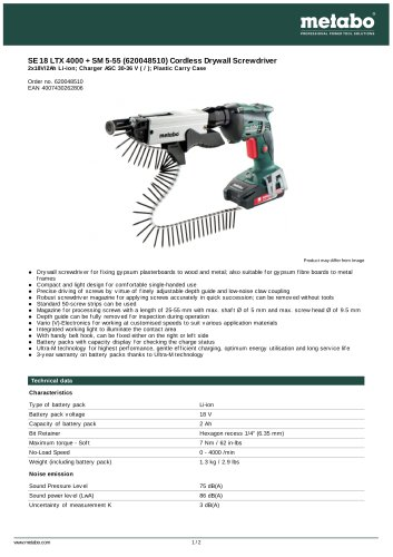 SE 18 LTX 4000 + SM 5-55 (620048510) CORDLESS DRYWALL SCREWDRIVER