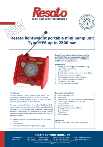 Air driven mini pump unit