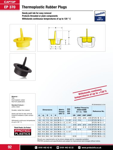 Captop EP 370 Thermoplastic rubber plugs