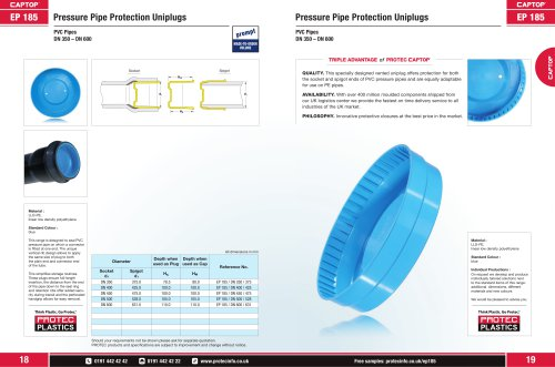 EP 185 Pressure Pipe Protection Uniplugs