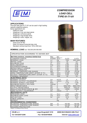COMPRESSION LOAD CELL TYPE 61-71-81