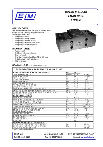 DOUBLE SHEAR LOAD CELL TYPE 91