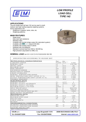 LOW PROFILE LOAD CELL TYPE 142