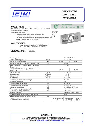 OFF CENTER LOAD CELL TYPE BM6A