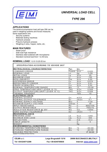 UNIVERSAL LOAD CELL TYPE 296