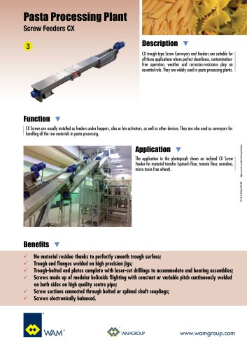 Pasta Processing Plant Screw Feeders CX