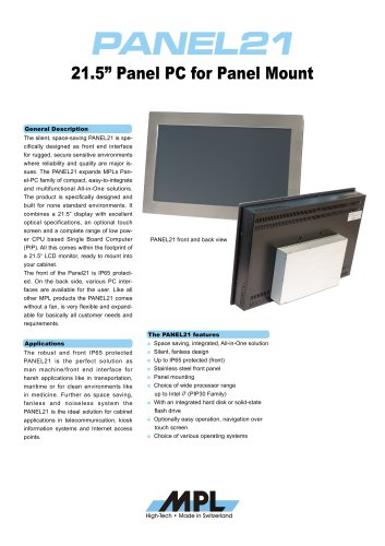 """21.5"""" Panel PC for Panel Mount"""