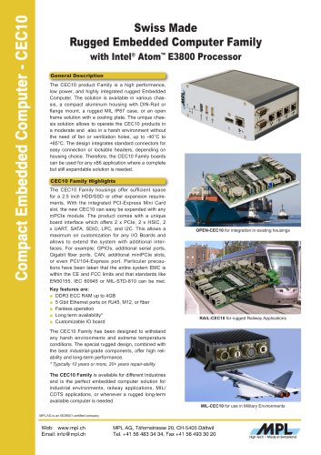 CEC10 - Rugged Embedded Computer Family with Intel Atom E3800 Processor