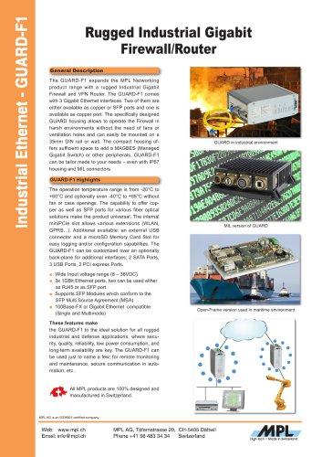 GUARD-F1 Rugged Industrial Gigabit Firewall/Router