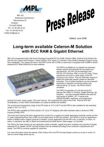 Long-term available Celeron-M Solution with ECC RAM & Gigabit Ethernet