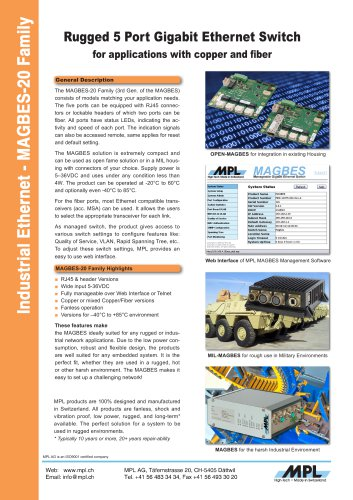 MAGBES-20 - Rugged 5 Port Gigabit Ethernet Switch