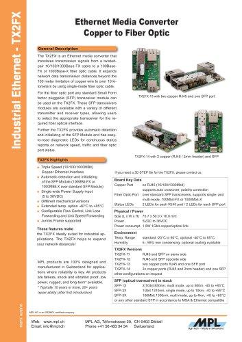 TX2FX Ethernet Media Converter Copper to Fiber Optic