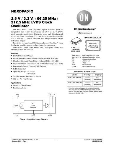 2.5 V / 3.3 V, 106.25 MHz /212.50 MHz PureEdge ™ Dual Frequency LVDS Clock Oscillator Module