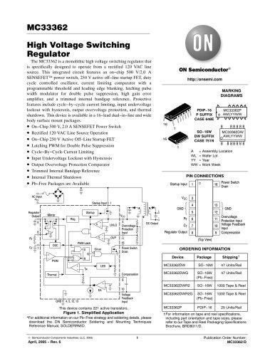 Off-Line Regulators    Current Mode Switching Regulators - Voltage Mode Switching Regulators MC33362DWG