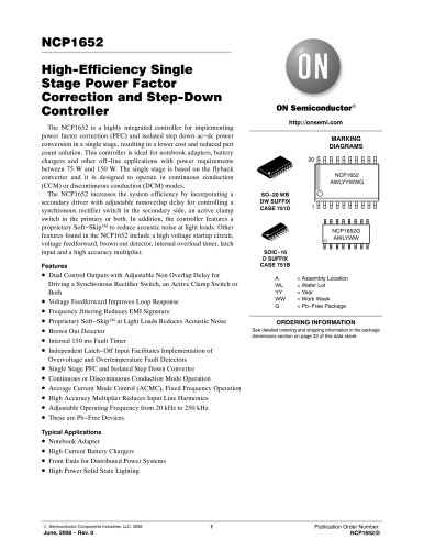 Power Factor Controllers    CRM PFC - CCM PFC - DCM PFC NCP1652DR2G