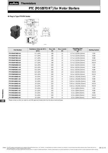"PTC Thermistors ""POSISTOR®"" Motor Starters"