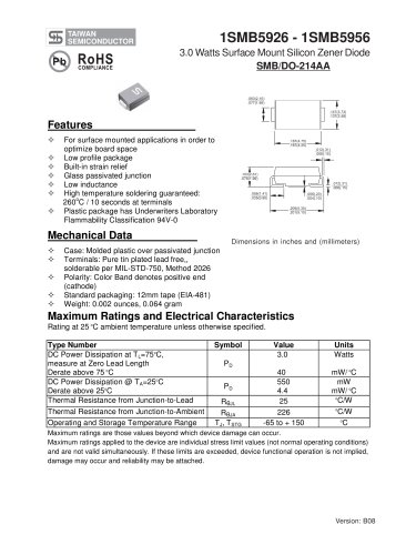 3.0 Watts Surface Mount Silicon Zener Diode