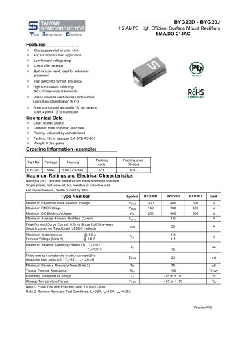 BYG20D Discrete Devices -Diode-High Efficienct Recovery