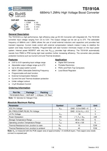 TS1910ACS Power Management Ics-Switching Regulator-DC/DC Converter (Integrated Switch)