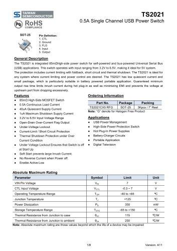 TS2021CX5 Power Management Ics-Analog IC-USB Power Switch
