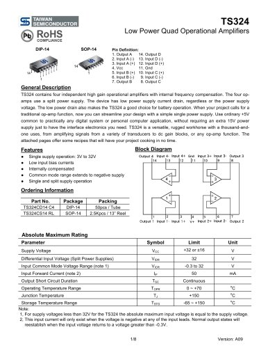 TS324 Low Power Quad Operational Amplifiers