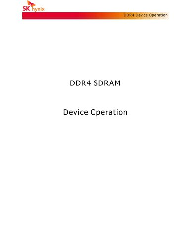 DDR4 SDRAM Device Operation