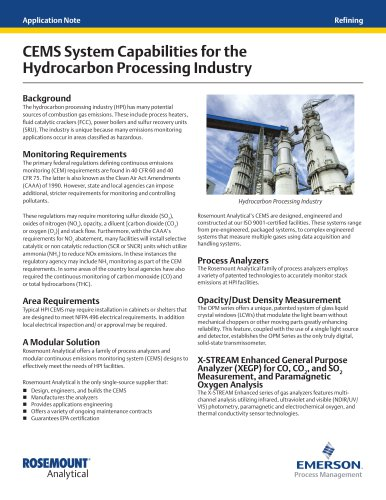 CEMS System Capabilities for the Hydrocarbon Processing Industry