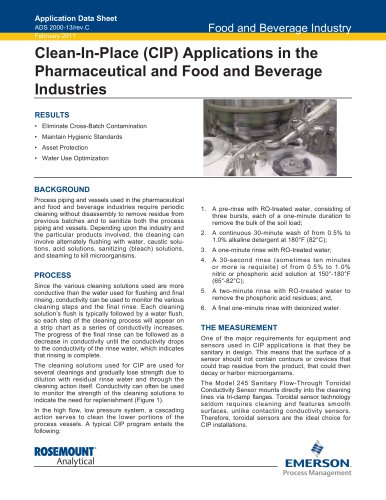 Clean-in-Place Pharmaceutical and Food & Beverage Industries