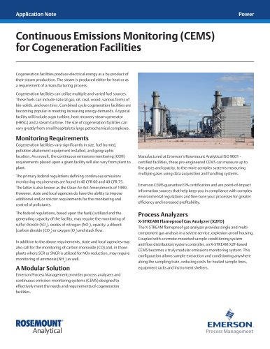 Continuous Emissions Monitoring (CEMS) for Cogeneration Facilities