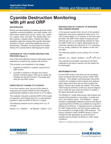 Cyanide Destruction Monitoring with pH and ORP