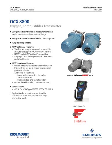 HART standard or OCX 8800 Oxygen/Combustibles Transmitter