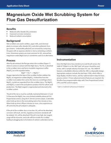 Magnesium Oxide Wet Scrubbing for Flue Gas Desulferization